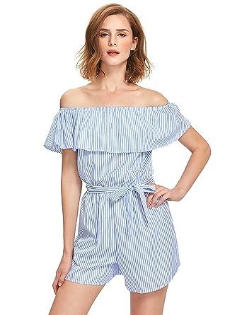 c67c0067c445 Amazon.com  Romwe Women s Striped Ruffle Off Shoulder Short Romper  Jumpsuit  Clothing