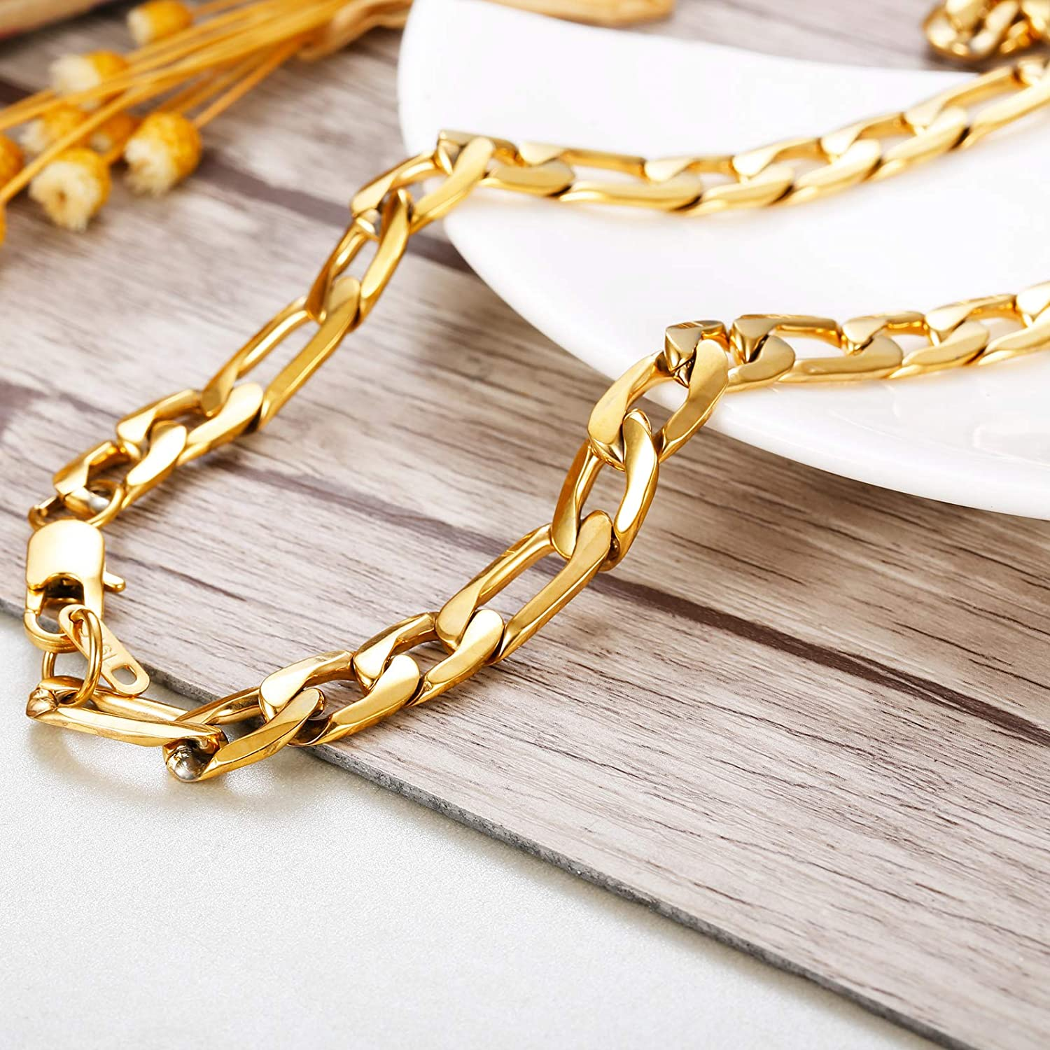 sailimue Figaro Chain Stainless Steel Link Necklace for Men Women 4-13mm Wide Necklace Length 18//20//22//24//26//28//30 inches Black//Gold//Silver Tone Jewelry Gift /…