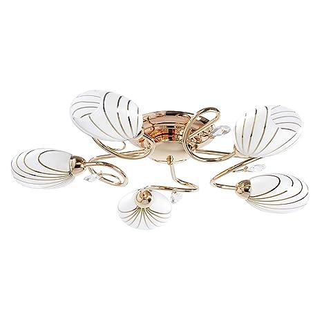 Elegante lámpara de techo, Moderna, metal en color dorado, Cristal mate blanco, Transparente, 5 bombillas, diámetro de 65 cm, Luz directa ...