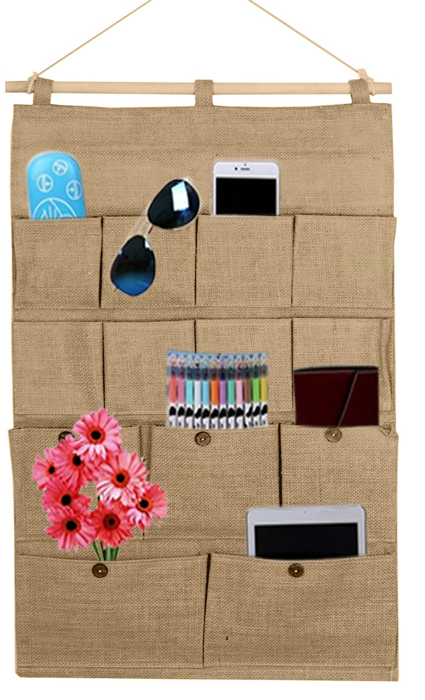 Linen/Cotton Fabric 13 Pockets Wall Door Closet Hanging Storage bag organizer,hanging shelves (brown)