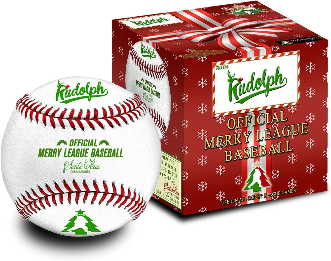 Rudolph Official Christmas Baseball of The Merry Leagues The Official Baseball of Christmas and The Merry Leagues Baseball Stocking Stuffer
