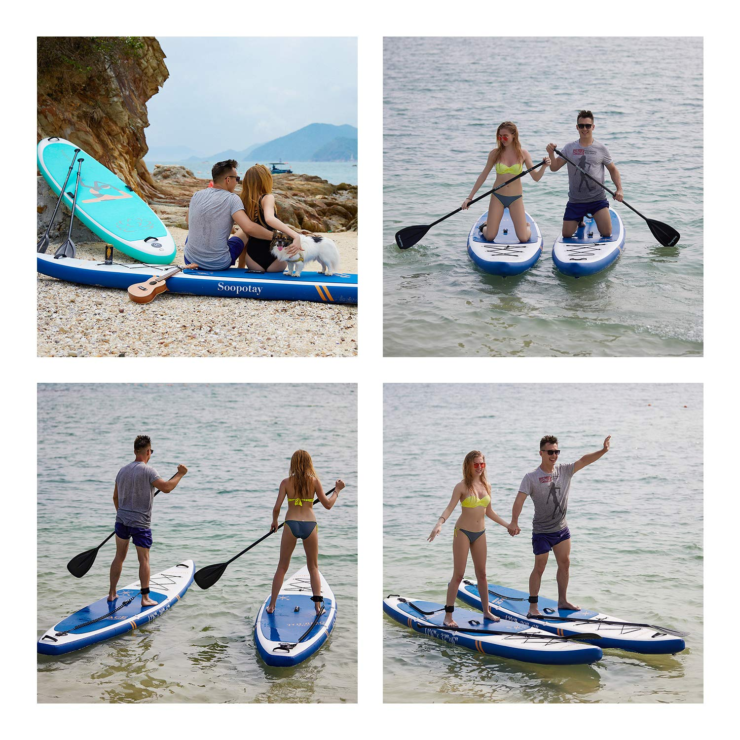 Inflatable SUP Stand Up Paddle Board, Inflatable SUP Board, iSUP Package with All Accessories (Racing-Navy Blue-12'6'' x 30'' x 6'') by Soopotay (Image #4)