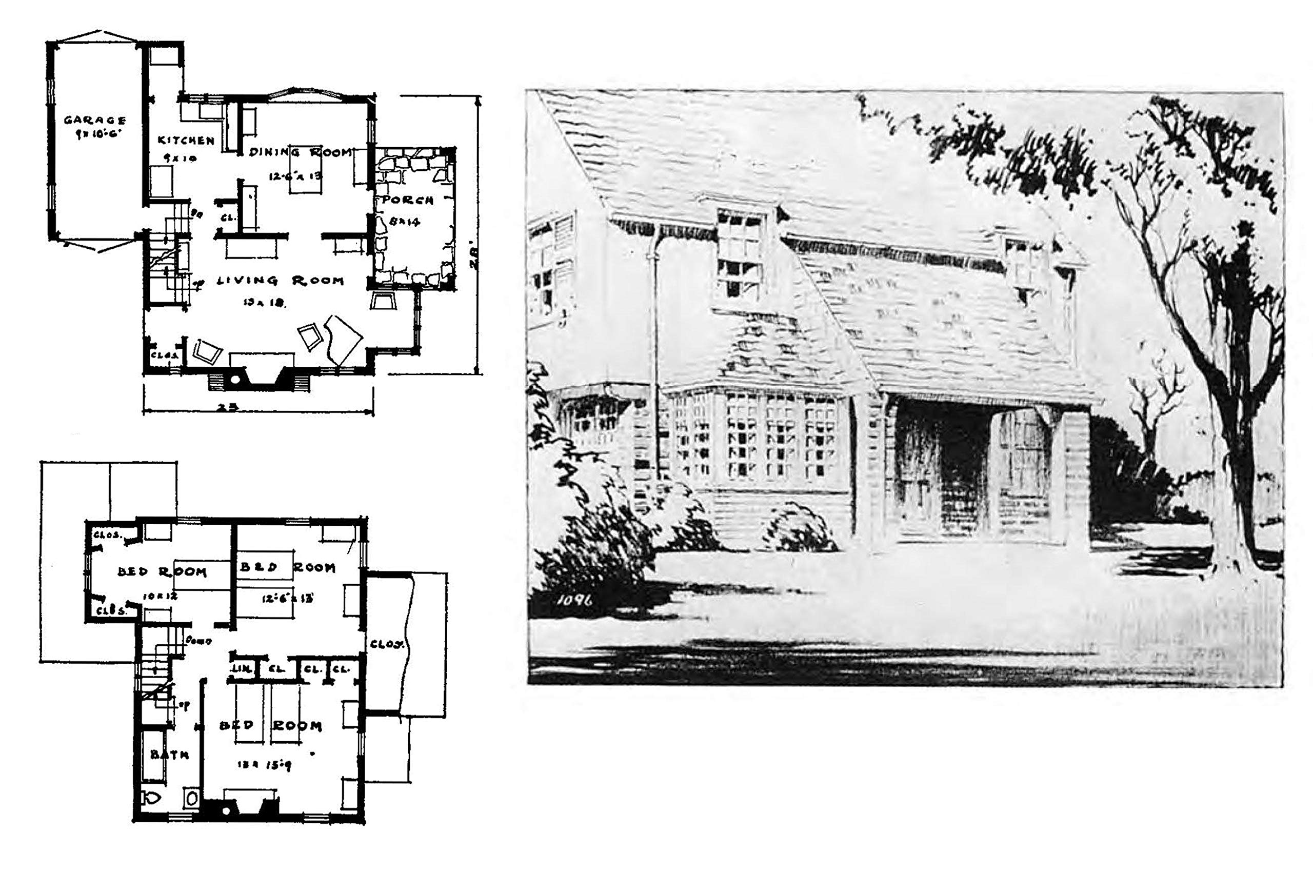 Authentic Small Houses of the Twenties: Illustrations and ... on house plans with wrap around porch, cabin plans with sleeping porch, home with sleeping porch, house plans with screened porch, house plans for homes built on a slope, waterfront house plan with porch,