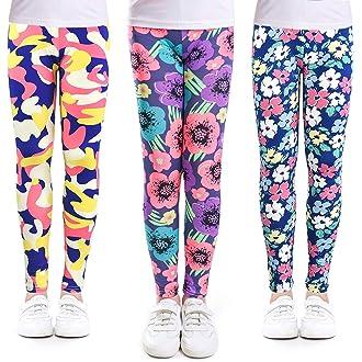8dda4c3011256b #9 slaixiu 3-Pack Printing Flower Girl Leggings Kids Classic Pants 4-13Y