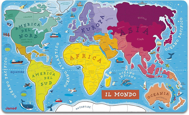 Janod - Puzzle magnético del Mundo de madera, Version en Italiano, 92 piezas (J05513): Amazon.es: Juguetes y juegos