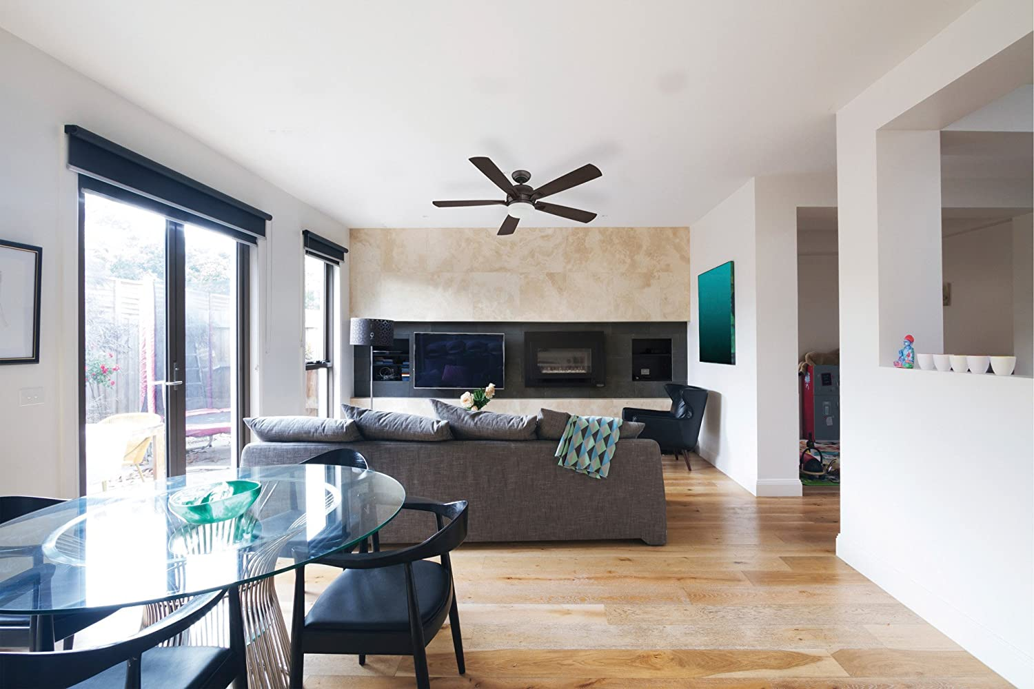 Craftmade STE52OB5 Stellar 52 Ceiling Fan with 12 Watt LED Light and Wall Control, 5 Plywood Blades, Oiled Bronze