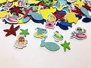 120 Piece Under The Sea Foam Stickers- Fish, Starfish, Jelly Fish, Crab, Shark, and More!