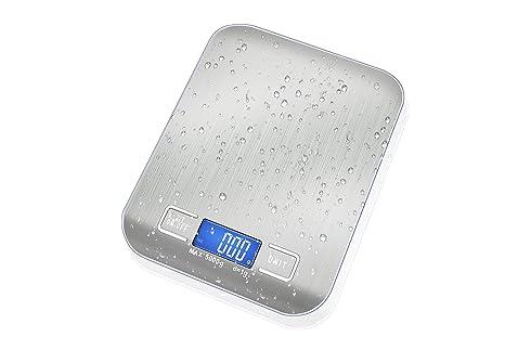 Básculas de pesaje con plataforma de cocina digital - Diseño de acero inoxidable cepillado, balanza