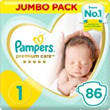 Pampers Premium care Diapers, Size 1, Newborn, 2-5 kg, Jumbo Pack, 86 Count