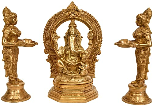 Lord Ganesha Worshipped by Lamp Goddesses Set of Three Statue – Brass Statue