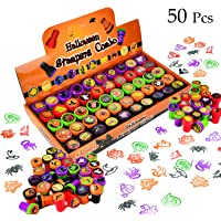 50 Pieces Halloween Assorted Stamps Kids Self-Ink Stamps (25 DIFFERENT Designs, Plastic Stamps, Trick Or Treat Stamps, Spooky Stamps)