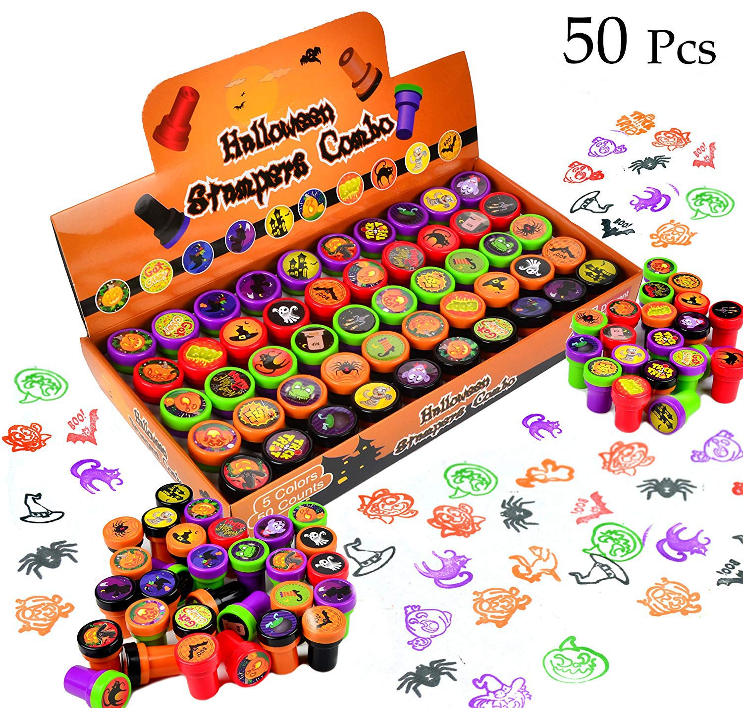 50 Pieces Halloween Assorted Stamps Kids Self-Ink Stamps (25 DIFFERENT Designs, Plastic Stamps, Trick Or Treat Stamps, Spooky Stamps) for Halloween Party Favors, Game Prizes, Halloween Goodies Bags Joyin Inc