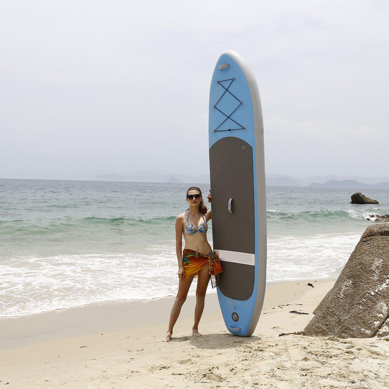 Profun Tabla Hinchable Paddle Surf Tabla de Surf SUP Set Stand Up Paddle Surf Board de 305CM*81CM*15CM con Paddle Ajustable+Bomba de Aire+Remo+Mochila ...