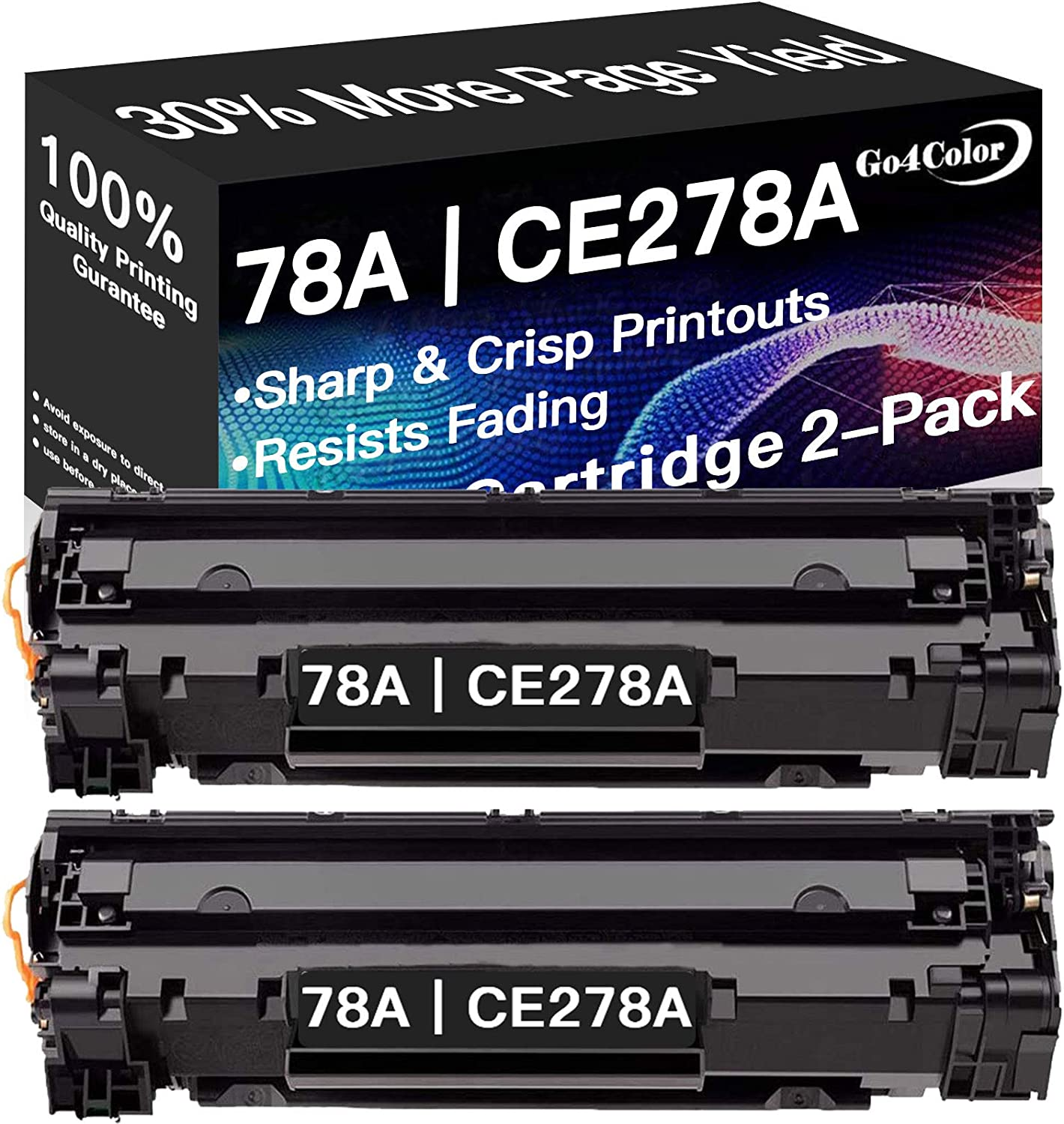 2-Pack Compatible 78A Toner Cartridge CE278A for HP Laserjet Pro M1536dnf P1606dn P1606n P1566 M1537dnf M1538dnf M1539dnf (Black), by Go4Color
