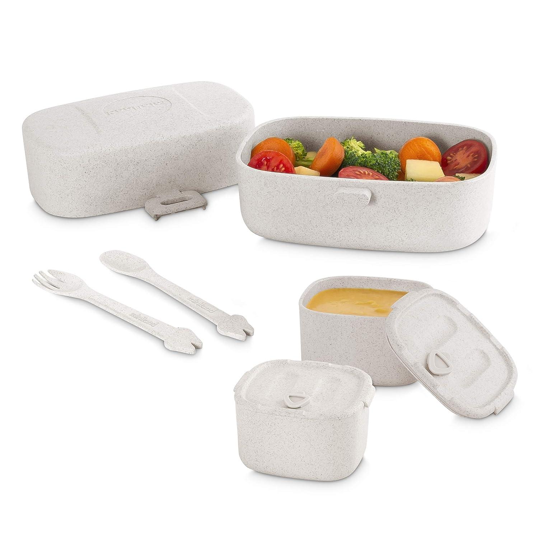 grau Picknick-Set aus Reisfasern mit 3 Beh/ältern Miniland 89273 NATURMEAL ON-THE-GO 1 L/öffel und 1 Gabel