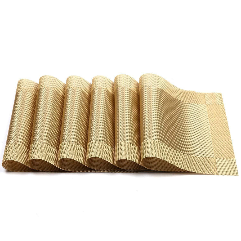 6+1 UArtlines manteles Individuales Dorado Lavable Mantel Individual de Vinilo Tejido Crossweave con Aislamiento de Calor