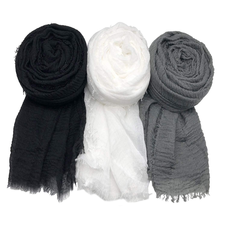 MANSHU 3PCS Women Soft Cotton Hemp Scarf Shawl Long Scarves, Scarf and Wrap, Big Head Scarves. by MANSHU