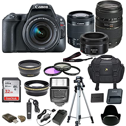 Canon EOS Rebel SL2 DSLR Camera w/ 5 Lens Bundle Including 2 2X Aux  Telephoto Lens + 0 43 Aux Wide Angle Lens + 32GB Memory Card + New  Accessories