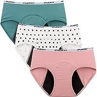 Innersy - Bragas menstruales para niña, de algodón, 3 unidades