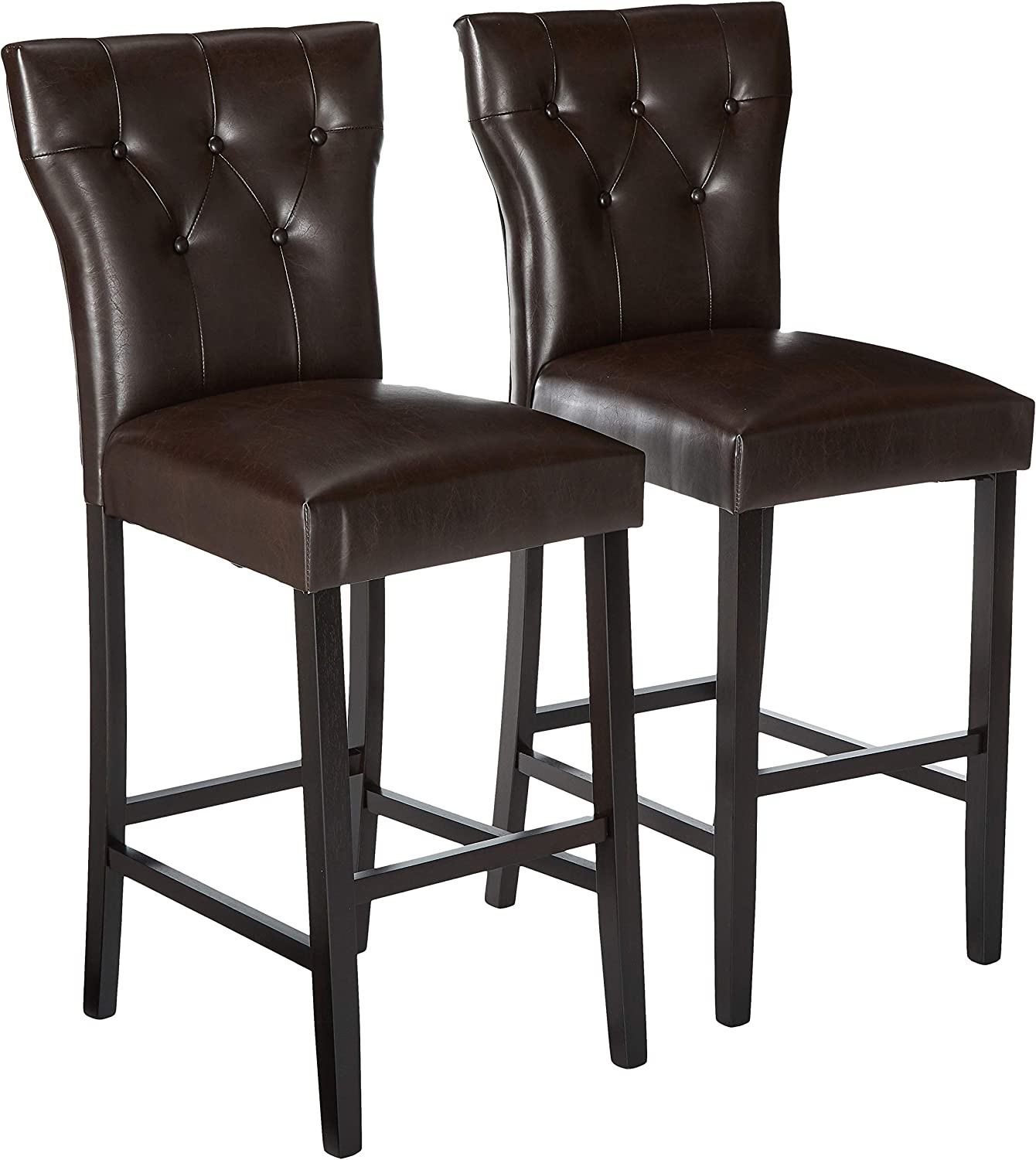 Christopher Knight Home Cadwallader Leather Barstools, 2-Pcs Set, Brown