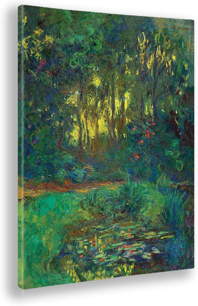 Giallobus - Cuadro - Claude Monet - Bosque y Flores - Estampado en Lienzo - Listo para Colgar - Varios tamaños - 50x70 cm