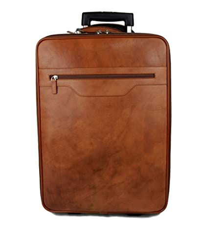 e45aef2031b7 Amazon.com  Leather trolley travel bag weekender overnight leather bag with wheels  brown leather cabin luggage airplane carryon airplane bag made Italy  ...
