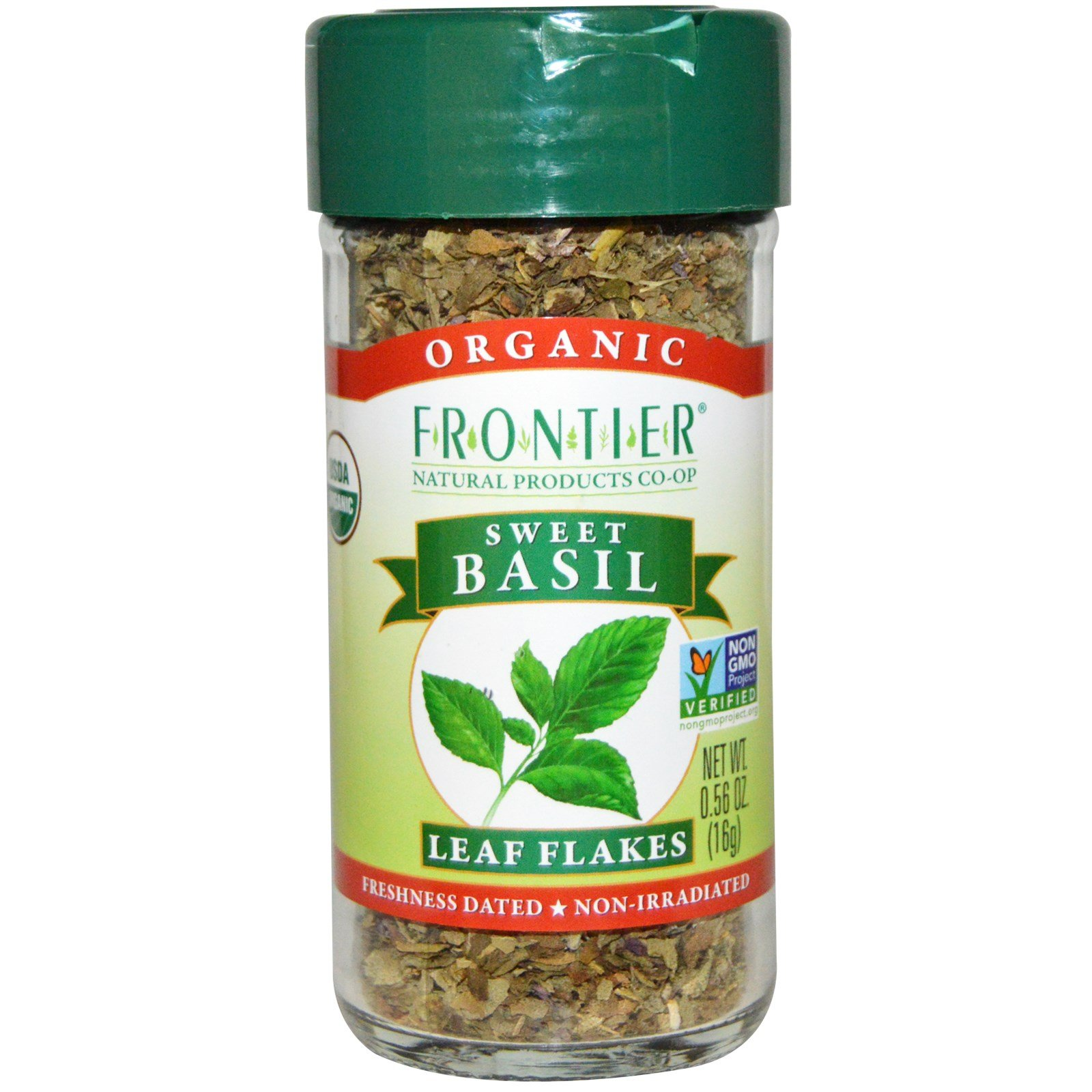 Frontier Natural Products, Organic, Sweet Basil, Leaf Flakes, 0.56 oz (16 g)