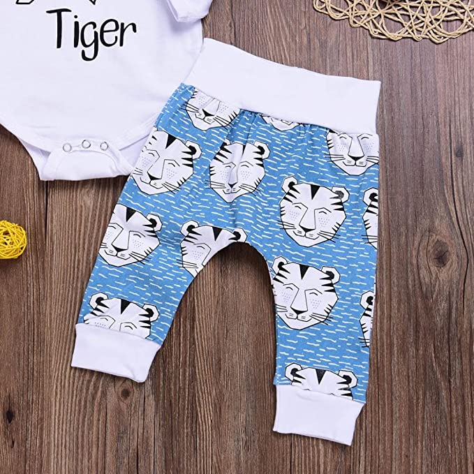 "617a4a17013a Amazon.com  arrow ""Little Tiger ""Romper+Cartoon Tiger Pants Hat baby Clothes  Set Vibola  Clothing"