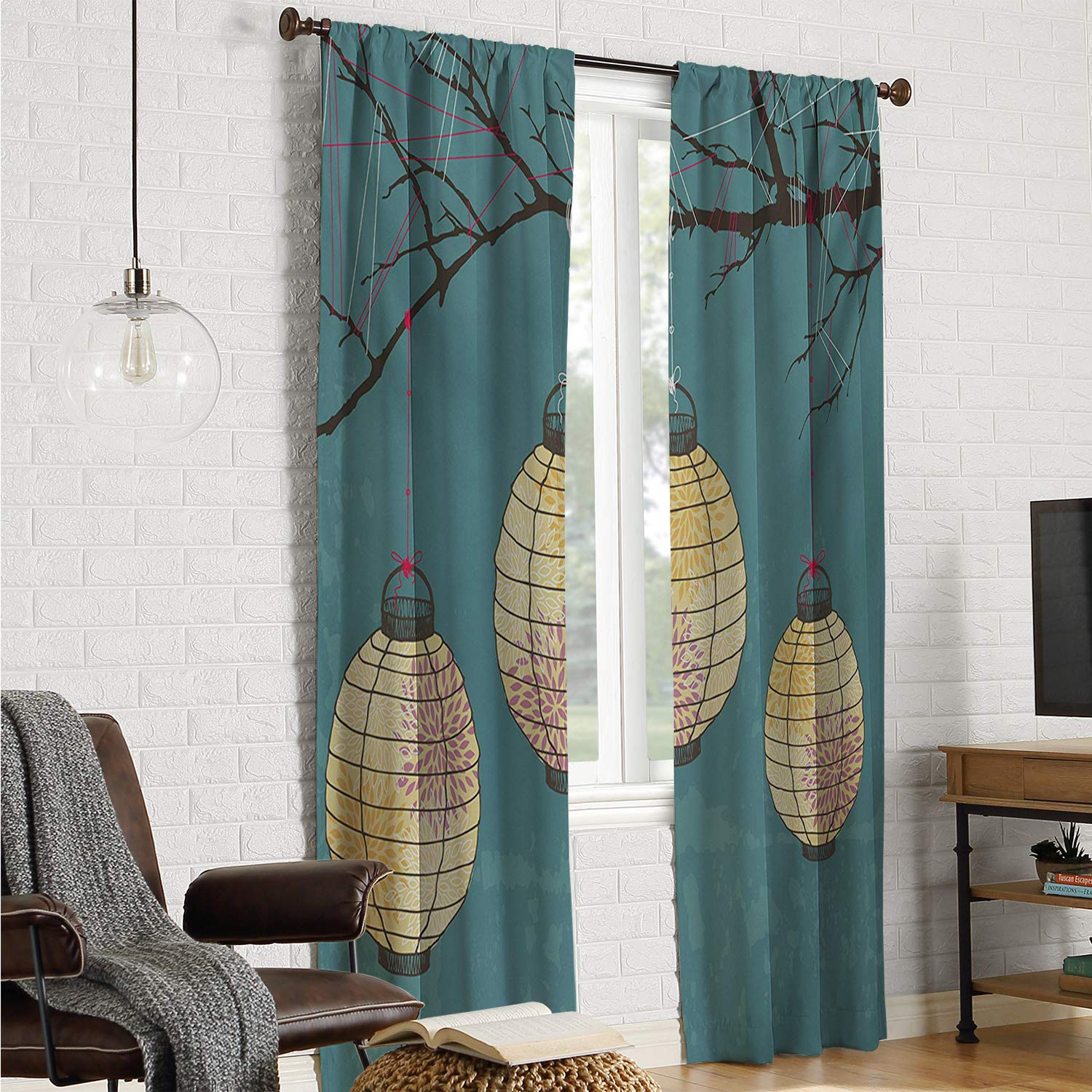 Mozenou Sliding Door Curtains soundproof Curtain Lantern,Three Paper Lanterns Hanging on Branches Lighting Fixture Source Lamp Boho,Teal Pale Yellow W84 x L96 Inch