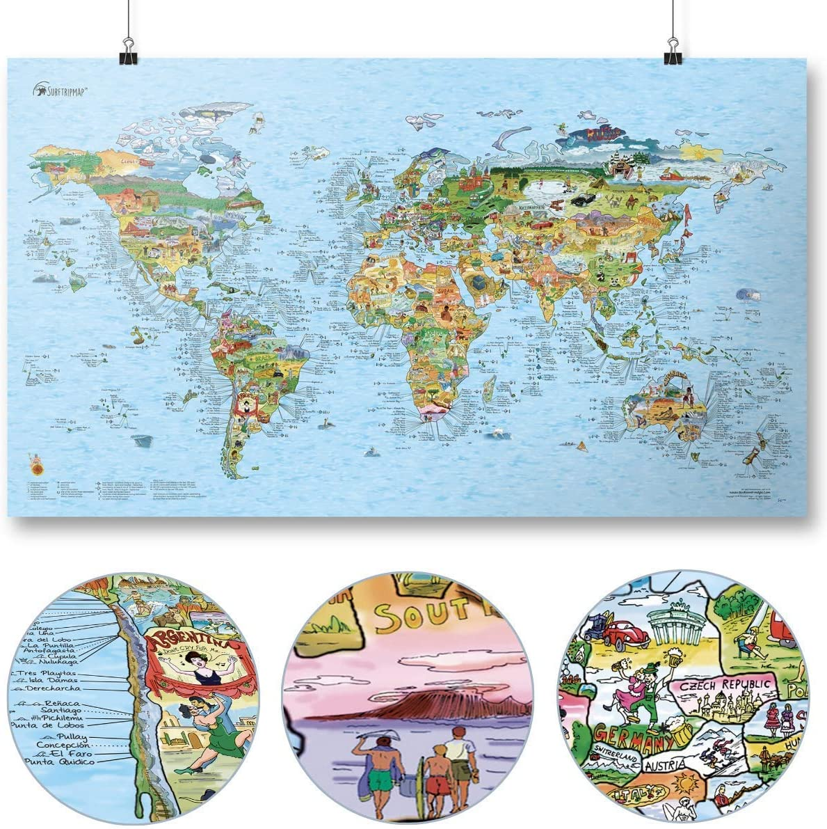 Surftrip Map by Awesome Maps - Mapa mundial ilustrado para los surfistas - reescribible - 97,5 x 56 cm: Amazon.es: Juguetes y juegos