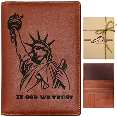 Lethnic Leather Passport Holder Cover RFID Blocking Travel Wallet (Liberty)