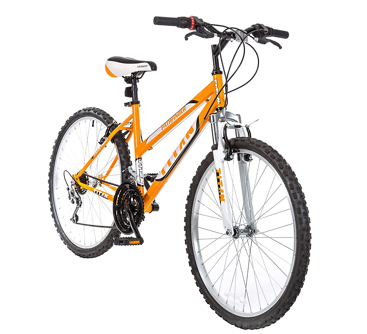 Titan Women s 18-Speed Pathfinder Front-Suspension Mountain Bike, Sunkissed Orange, 17-Inch Frame, 26-Inch Alloy Wheels