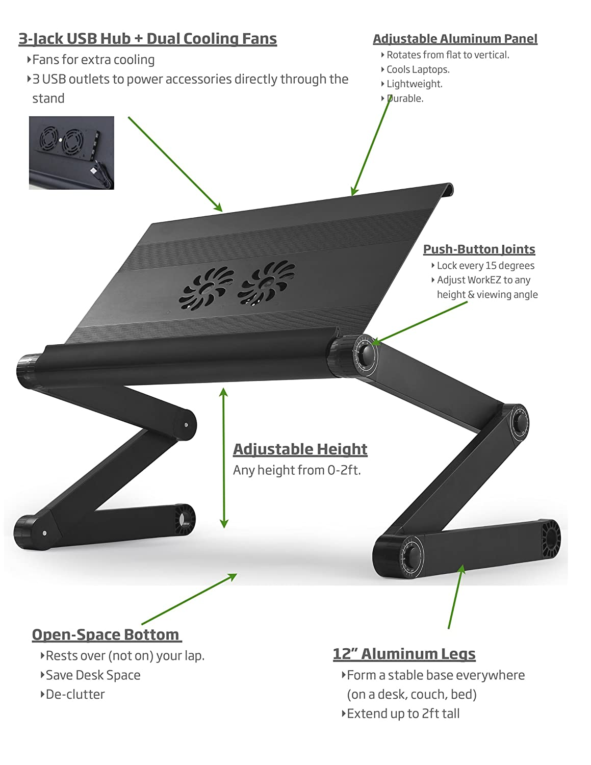 Amazoncom Laptop Standing Desk with Mouse Pad Adjustable