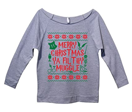 womens raw edge harry potter christmas sweat shirt 34 sleeve merry christmas ya