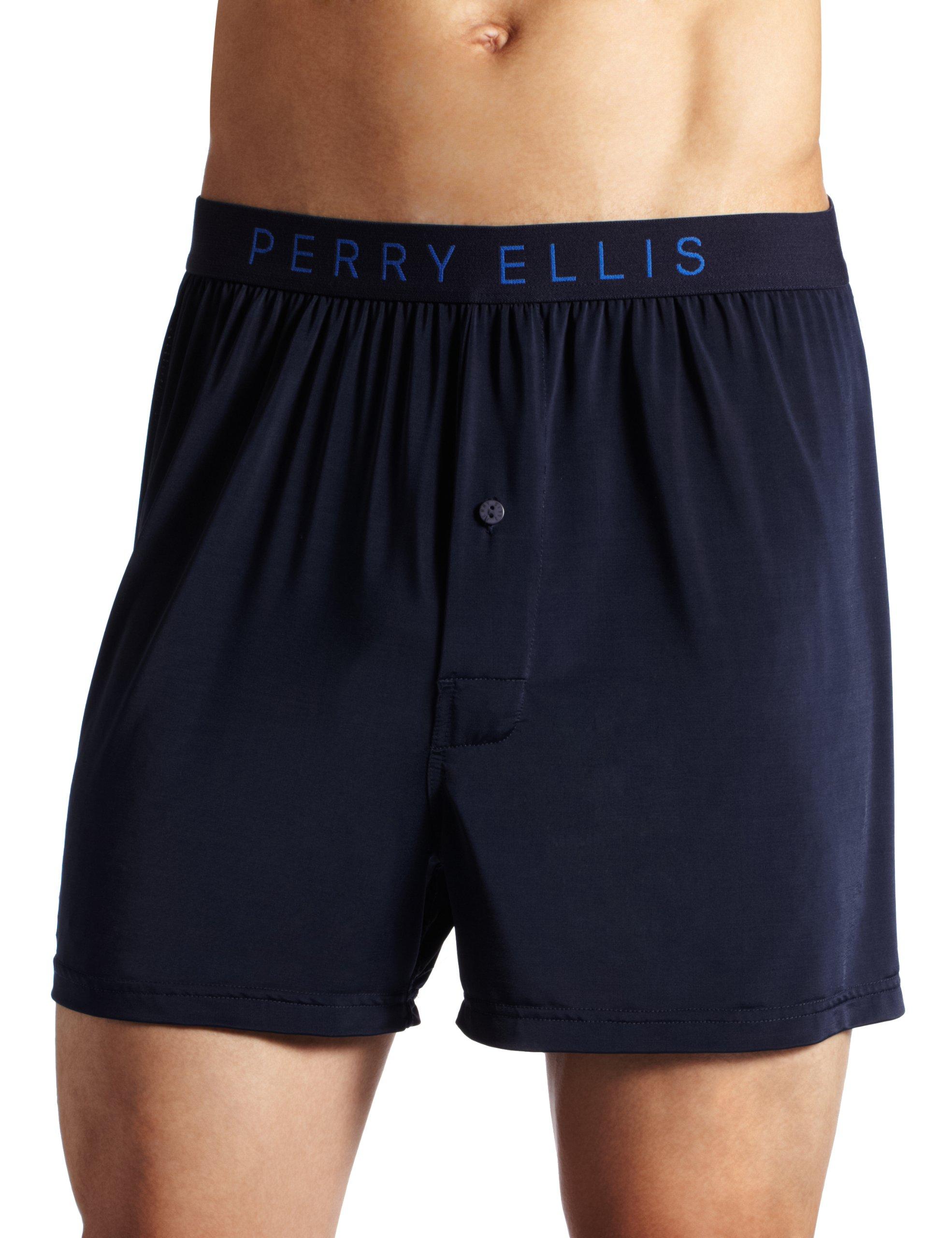 Perry Ellis Men's Luxe Solid Boxer, Navy, Medium
