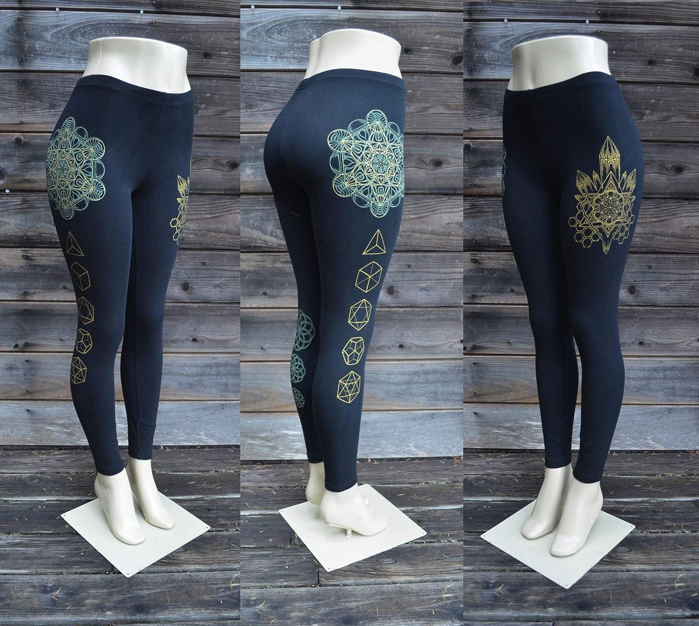 b5acd6ed91d1d4 Amazon.com: Platonic Crystal Leggings - Sacred Geometry Leggings - Black  Leggings - Sacred Geometry Clothing - Metatron's Cube - Yoga Wear: Handmade