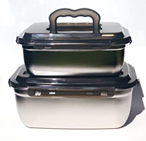 JaceBox Stainless Steel Jumbo Food Containers 2 sizes set 3.8L 128oz/ 7.5L 253oz Great for Marinating Meats Korean Barbecue Bread Box KimChi Crock Pot Catering Food Storage Box