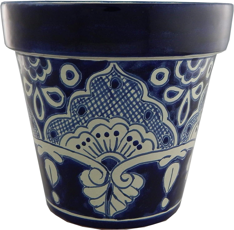 Mexican Talavera Planter Ceramic Flower Pot Folk Art Pottery Garden Handmade # 19