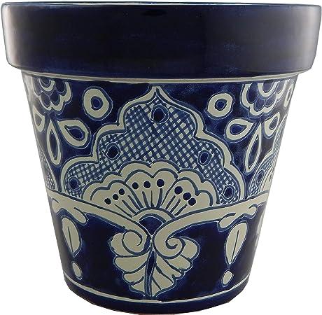 Set Of 3 Talavera Mexican Folk Art Pottery pots planters
