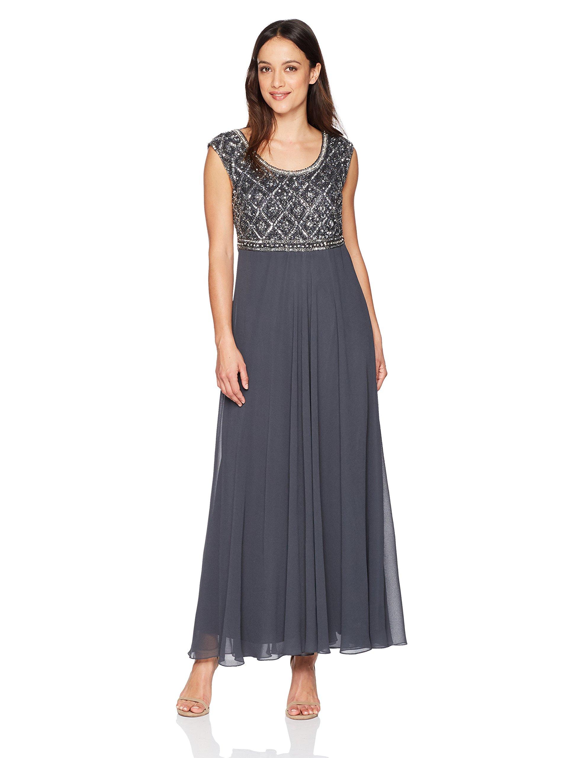 Petite Short Sleeve Beaded Top Long Dress
