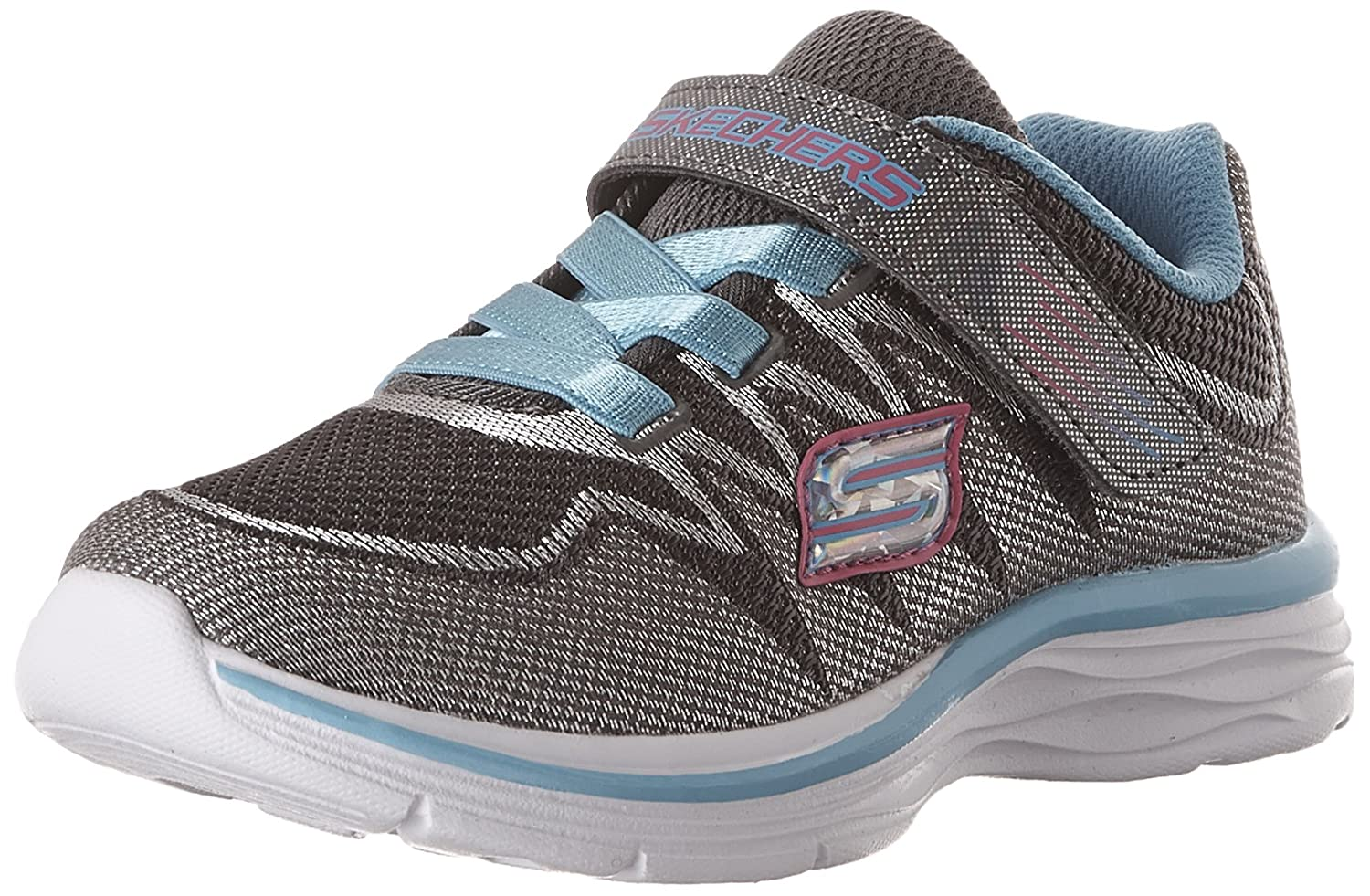Skechers Kids Girls Dream N' Dash Whimsy Girl Velcro Strap Sneaker B06W5985XX 5 M US Toddler|Grey/Blue
