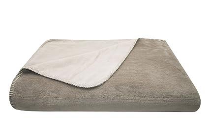 ZOLLNER Manta Cama 90, Manta Grande para sofá Reversible, 150x200 cm, Beige-