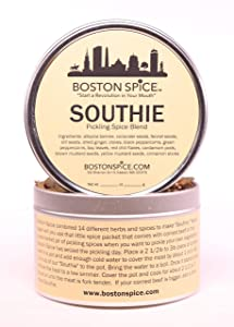 Boston Spice Southie South Boston Pickling Spice Seasoning Blend To Make Corned Beef Pastrami New England Boiled Dinner Pickled Vegetables Slow Cooker Stovetop (Approx. 1 Cup of Spice in Metal Tin)