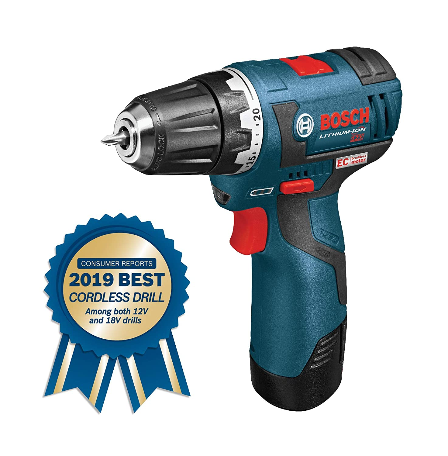 Bosch PS32-02 Cordless Drill Driver – 12V Brushless Compact Drill with 2 Lithium Ion Batteries, Charger Soft Carrying Case