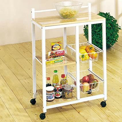 Acme Cart Wooden Top Metal Frame Rectangular Kitchen Island Cart With  2 Metal Wire Baskets