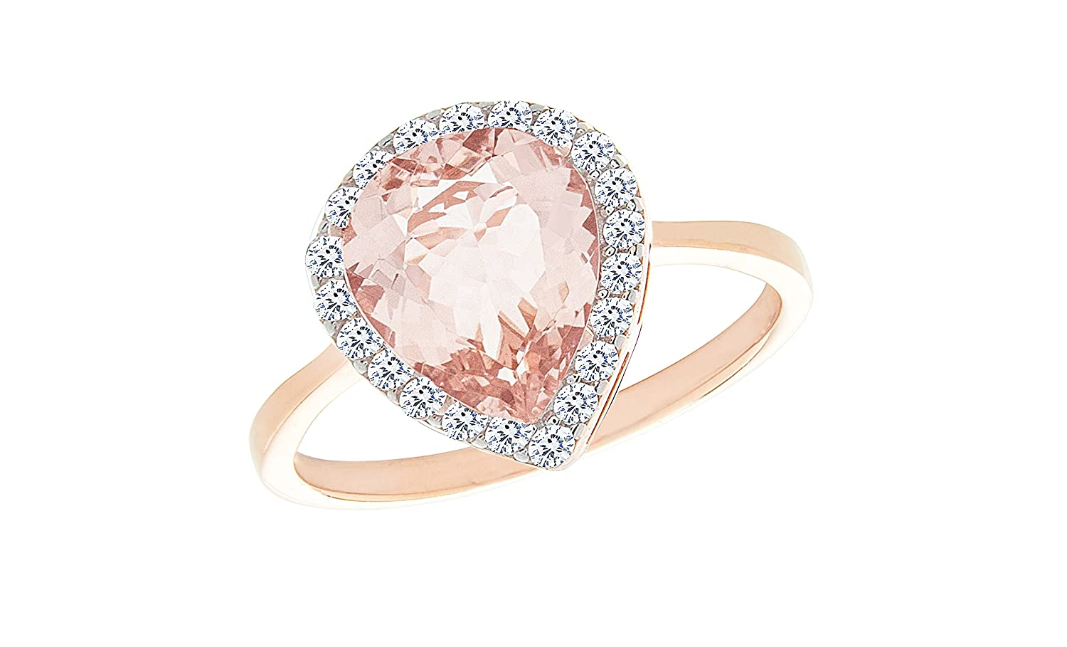 NYC Sterling Teardrop Pear Halo Cubic Zirconia Simulated Morganite Ring