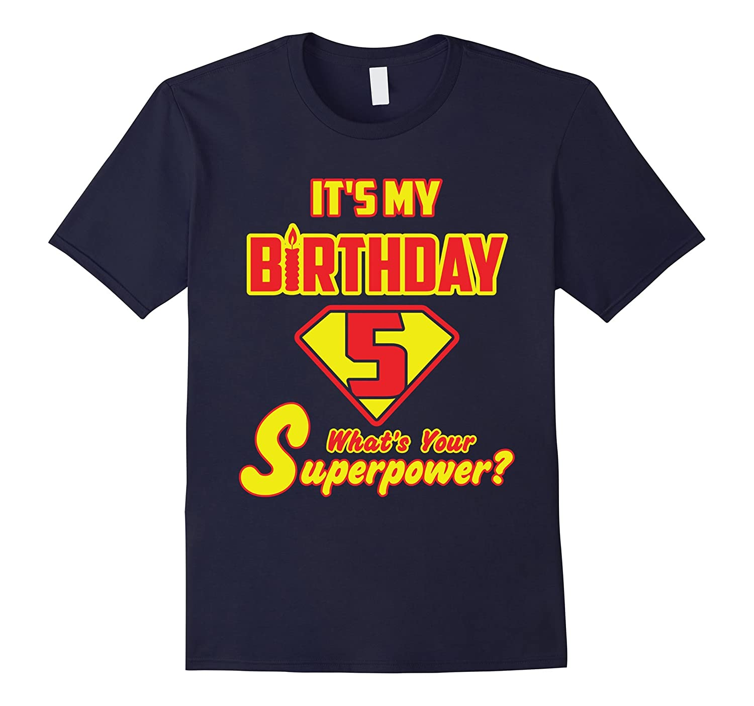 2 Sided Superhero Its My Birthday Shirt Gift for 5 Year Old-TH