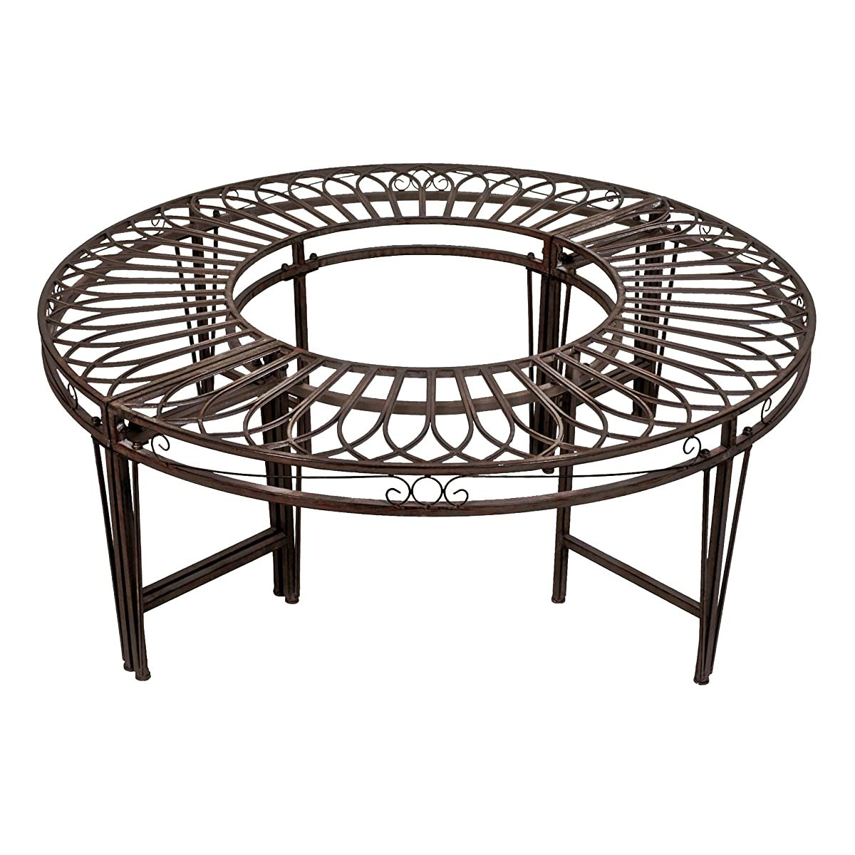 Design Toscano Roundabout Circular Garden Tree Bench Seat, 47 Inch, Steel Metalware, Grey