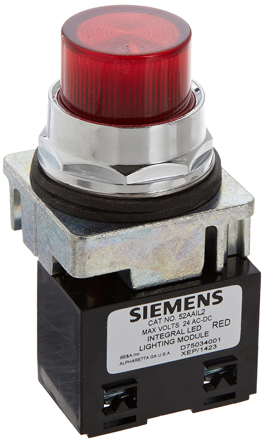 Siemens 52PL4L2 Heavy Duty Pilot Light Plastic Lens 24VAC//VDC Voltage Integrated LED Module Red Water and Oil Tight