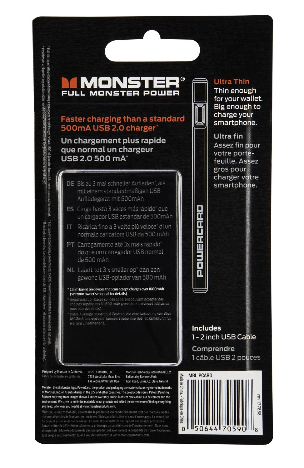 Amazon.com: Monster Cable Mobile PowerCard Portable Battery (Slate Black) (Discontinued by Manufacturer): Cell Phones & Accessories